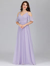 Elegant Chiffon V-Neck Bridesmaid Dresses With Ruffles Sleeves-Lavender 9