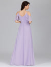 Elegant Chiffon V-Neck Bridesmaid Dresses With Ruffles Sleeves-Lavender 7