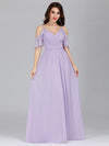 Elegant Chiffon V-Neck Bridesmaid Dresses With Ruffles Sleeves-Lavender 8