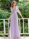 Elegant Chiffon V-neck Bridesmaid Dresses with Ruffles Sleeves