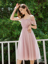 Charming Off-Shoulder Tulle Prom Dresses With Spaghetti Straps-Mauve 3