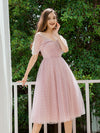 Charming Off-Shoulder Tulle Prom Dresses With Spaghetti Straps-Mauve 4