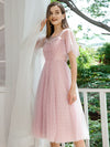 Alluring Tulle Round Neck Bridesmaid Dresses With Short Ruffles Sleeves-Mauve 3