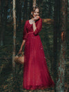 Elegant Maxi V Neck Tulle Evening Dress With Shiny Dot-Red 1