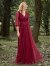 Elegant Maxi V Neck Tulle Evening Dress With Shiny Dot-Red 3