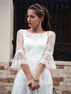 Women'S Simple Knee-Length Lace Causl Dress With 3/4 Sleeves-Cream 8