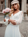 Elegant Deep V Neck Appliqued Chiffon Wedding Dress With Hollow-Sleeves-White 3