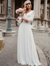 Elegant Deep V Neck Appliqued Chiffon Wedding Dress With Hollow-Sleeves-White 1