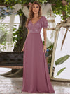 Stylish V Neck A-Line Chiffon Wedding Dress For Women With Lace-Purple Orchid 1