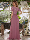 Stylish V Neck A-Line Chiffon Wedding Dress For Women With Lace-Purple Orchid 2