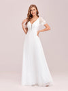 Stylish V Neck A-Line Chiffon Wedding Dress For Women With Lace-White 1