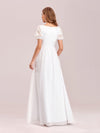 Stylish V Neck A-Line Chiffon Wedding Dress For Women With Lace-White 2