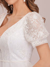 Stylish V Neck A-Line Chiffon Wedding Dress For Women With Lace-White 3