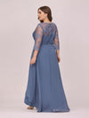 Fashion Ruched Plus Size Chiffon Party Dress With Lace-Dusty Navy 2