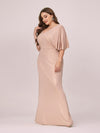 Elegant V Neck Fishtail Plus Size Evening Dress For Mother Of Bride-Blush 3