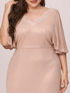 Elegant V Neck Fishtail Plus Size Evening Dress For Mother Of Bride-Blush 5