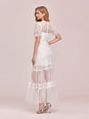 Women'S Dainty A-Line Lace Midi Casual Dress With Short Sleeves-Cream 7