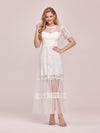 Women'S Dainty A-Line Lace Midi Casual Dress With Short Sleeves-Cream 6