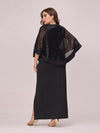 Women'S Sexy Round Neck Maxi Cocktail Dress With Sequin Wrap-Black 2