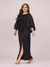 Women'S Sexy Round Neck Maxi Cocktail Dress With Sequin Wrap-Black 3