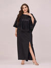 Women'S Sexy Round Neck Maxi Cocktail Dress With Sequin Wrap-Black 4
