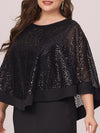 Women'S Sexy Round Neck Maxi Cocktail Dress With Sequin Wrap-Black 5