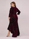 Elegant Plus Size Bodycon High-Low Velvet Party Dress-Burgundy 2