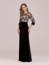 Sexy High Waist Velvet Straight Evening Dress With Lace Bodice-Black 3