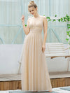 Cute Sleeveless V Neck Long Evening Dresses With Shiny Dot-Blush 3