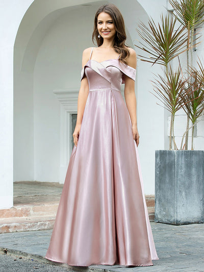 Romantic Off Shoulder with Straps A-Line Box Pleat Long Bridesmaid Dress