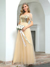 Women'S Cute V Neck A-Line Tulle Evening Dress With Short Sleeves-Gold 3