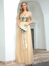 Women'S Cute V Neck A-Line Tulle Evening Dress With Short Sleeves-Gold 4