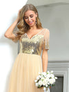 Women'S Cute V Neck A-Line Tulle Evening Dress With Short Sleeves-Gold 5