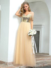 Women'S Cute V Neck A-Line Tulle Evening Dress With Short Sleeves-Gold 1