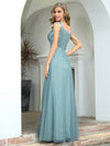 Elegant V Neck A-Line Sleeveless Long Bridesmaid Dress For Women-Dusty Blue 2