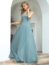 Elegant V Neck A-Line Sleeveless Long Bridesmaid Dress For Women-Dusty Blue 3