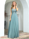 Elegant V Neck A-Line Sleeveless Long Bridesmaid Dress For Women-Dusty Blue 4