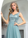 Elegant V Neck A-Line Sleeveless Long Bridesmaid Dress For Women-Dusty Blue 5