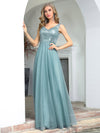Elegant V Neck A-Line Sleeveless Long Bridesmaid Dress For Women-Dusty Blue 1