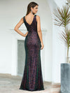 Gorgeous V Neck Sleeveless Mermaid Sequin Evening Gowns-Multicolor 2