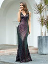 Gorgeous V Neck Sleeveless Mermaid Sequin Evening Gowns-Multicolor 3