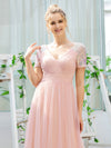 Sweet V Neck A-Line Tulle Bridesmaid Dress With Sequin-Pink 5