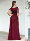 Elegant A-Line Rond Neck Tulle Prom Dress With Sequin Tassels-Burgundy 2