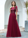 Elegant A-Line Rond Neck Tulle Prom Dress With Sequin Tassels-Burgundy 4