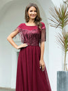 Elegant A-Line Rond Neck Tulle Prom Dress With Sequin Tassels-Burgundy 5