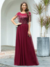 Elegant A-Line Rond Neck Tulle Prom Dress With Sequin Tassels-Burgundy 1