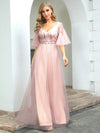 Cute V-Neck Short Ruffled Sleeves Bridesmaid Dress With Sequin-Pink 4