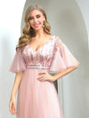 Cute V-Neck Short Ruffled Sleeves Bridesmaid Dress With Sequin-Pink 5
