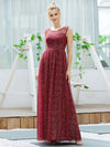 Cute Glittery Illusion Neck A-Line Evening Dress For Women-Burgundy 3