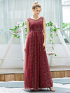 Cute Glittery Illusion Neck A-Line Evening Dress For Women-Burgundy 4